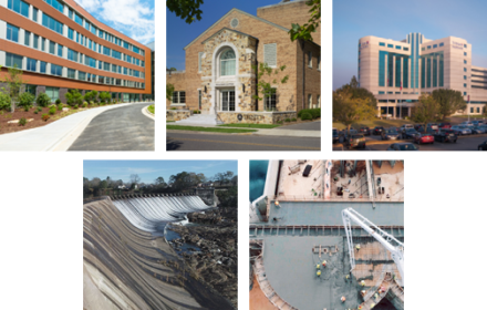 A hospital, church, medical facility, spillway and pollution control facility are pictured in a grid