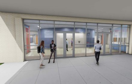 An architectural rendering of the entry to a junior high school