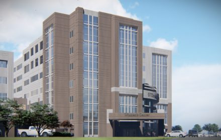 Rendering of the exterior of a hospital building