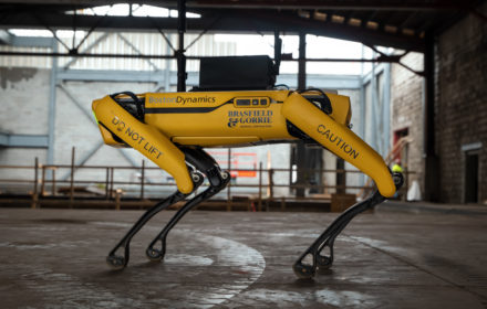 The agile mobile robot Spot stands on a construction jobsite