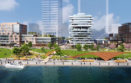 A rendering of a downtown, riverfront development in Jacksonville, Florida