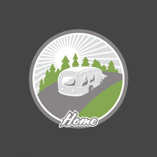 Home logo graphic of a mobile home driving in through the woods