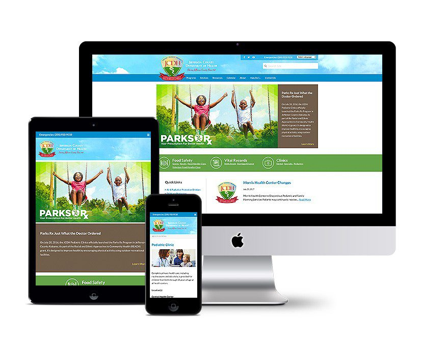 Screenshot of Jefferson County Department of Health website's homepage on multiple devices