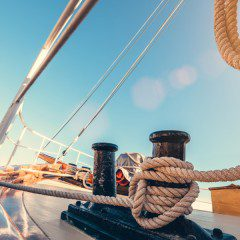 boat deck with blue sky in the background