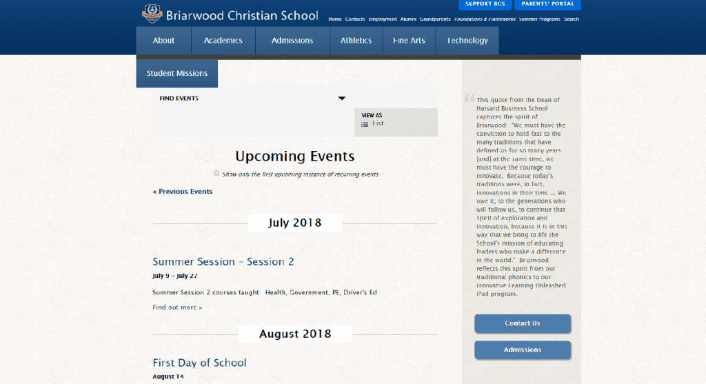 screenshot of briarwood christian school's events page