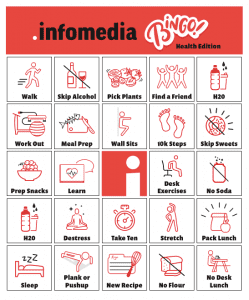 infomedia bingo card with icons representing goals