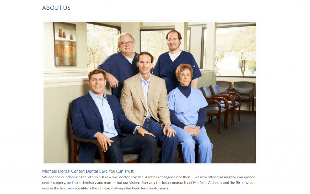 a dentist website page showing staff members