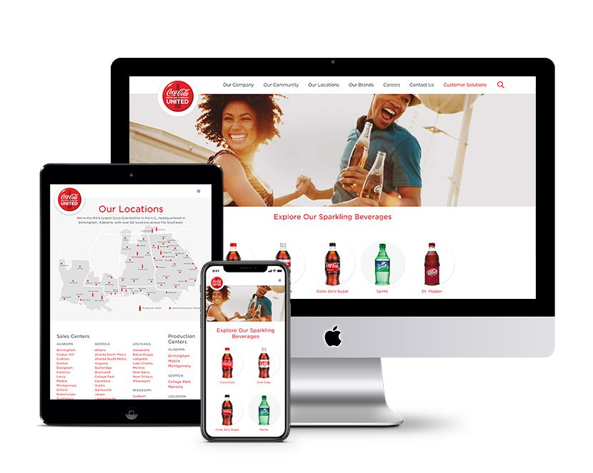 Coca Cola UNITED's website displayed on a computer, tablet and phone